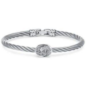 CHARRIOL White Topaz Bangle Bracelet, Silver